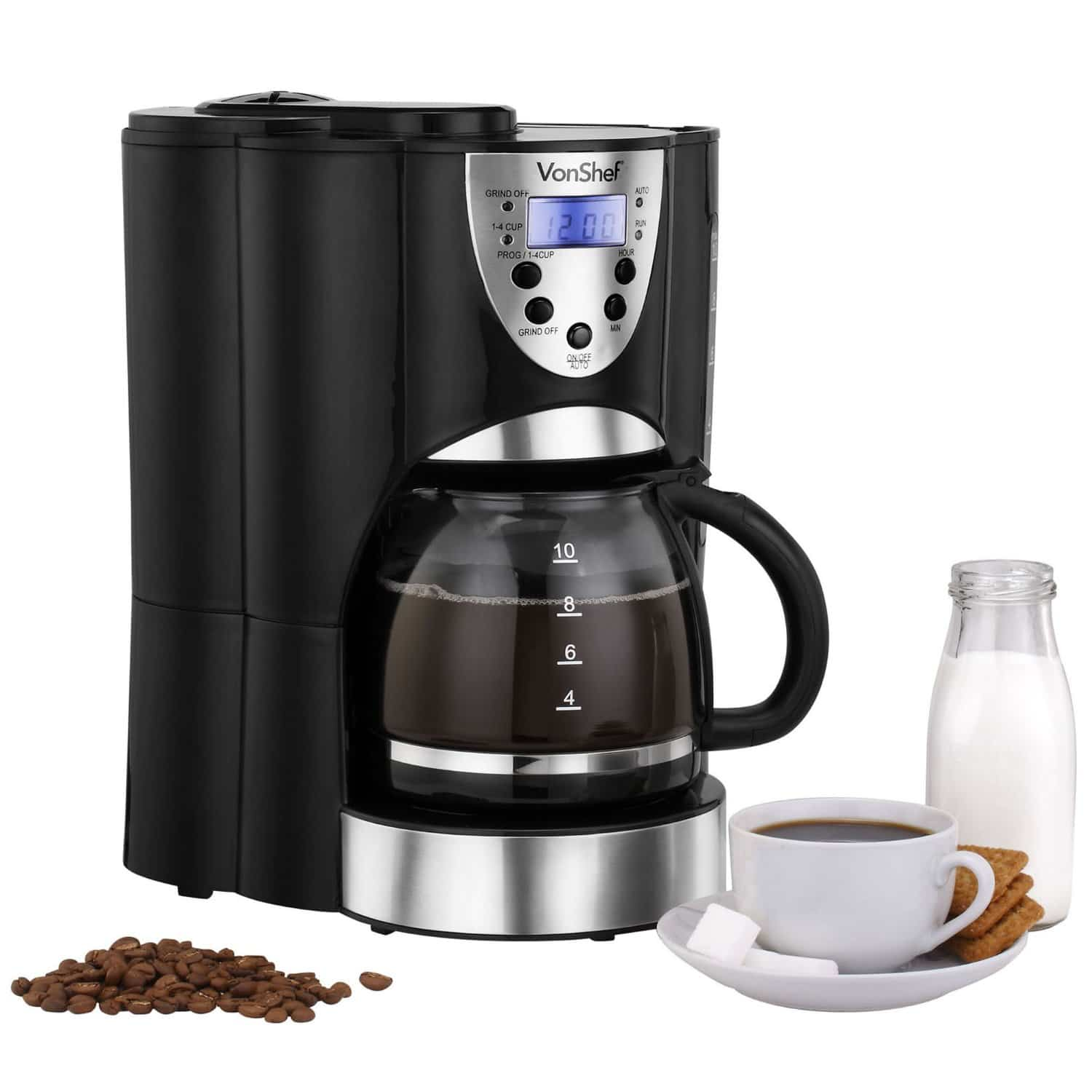 VonShef Digital Filter Coffee Maker with Integrated Grinder 13:163